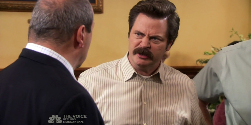 Ron Swanson dramatically reacts to news of barber Salvatore's passing picture2