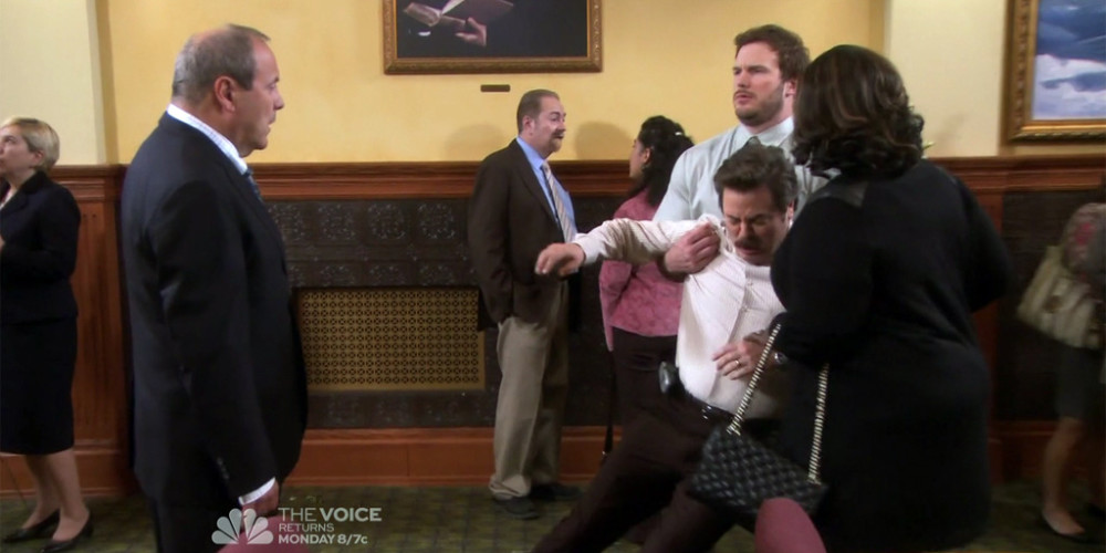 Ron Swanson dramatically reacts to news of barber Salvatore's passing picture3