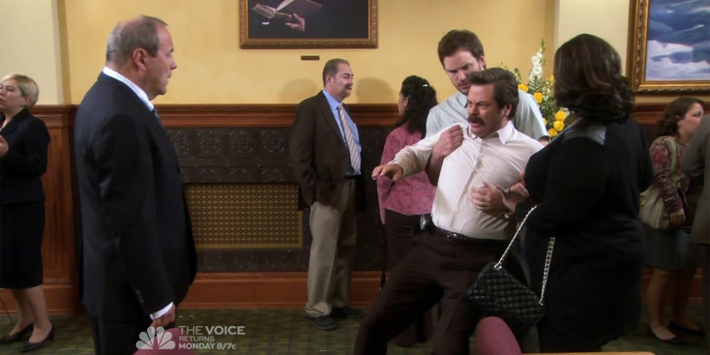 Ron Swanson dramatically reacts to news of barber Salvatore's passing picture4